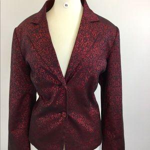 Apt.9 red pattern blazer {B-35}